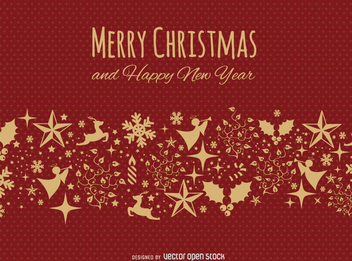 Merry Christmas Red and gold postcard - Free vector #328361