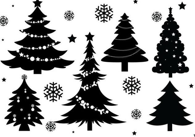 Weihnachtsbaum silhouette vektoren kostenloser vektor - Weihnachtsbaum vektor ...