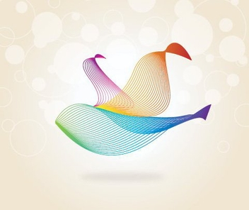 Bird Formed Colorful Spiral Waves - Free vector #328951