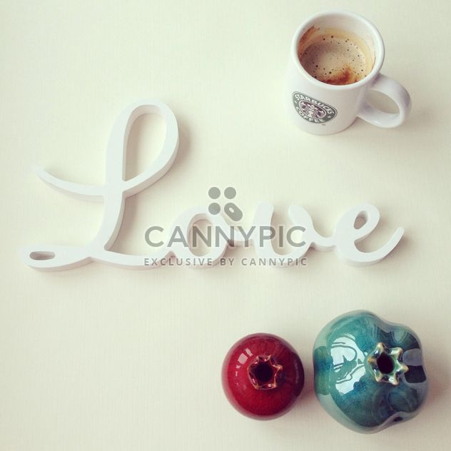 Word Love, cup of coffee and decorative pomegranate - Free image #329071