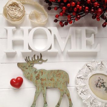 Wooden elk, red heart, word Home and red berries - бесплатный image #329081