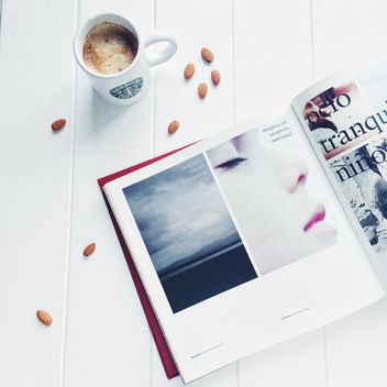 morning minimal shots with coffee, almond and magazine - image gratuit #329171