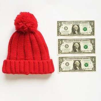 red hat for your child and 3 dollars on white background - image #329231 gratis