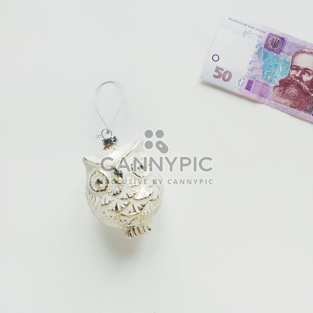 owl toy and money on a white background - бесплатный image #329241