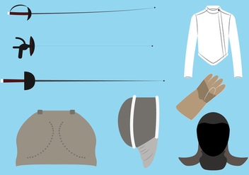 Vector Set of Fencing Equipment - vector gratuit #329341