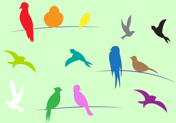 Colorful Birds in Vector - vector gratuit #329371