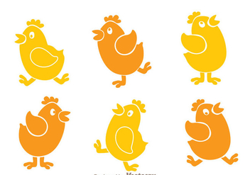 Chicken Cartoon Icons - Free vector #329411