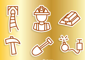 Gold Mine Outline Icons - vector gratuit #329761