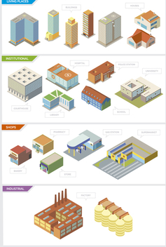 City buildings - Isolated and Isometric - Free vector #329831