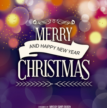 Merry Christmas badge over bokeh background - vector gratuit #330191