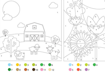 Coloring Pages With Color Guides - Free vector #330471