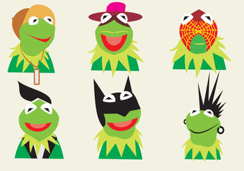 Various Characters of Kermit the Frog - vector gratuit #330761