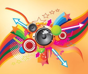 Retro Colorful Musical Background - vector gratuit #332481