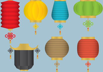 Oriental Hanging Light Vectors - Free vector #332981