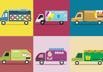 Various Food Truck - Free vector #333391