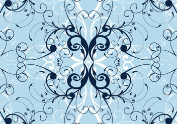 Blue winter floral pattern background - Free vector #333441