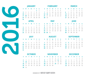 Simple 2016 calendar - vector gratuit #334131