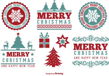 Vintage Christmas Label Set - vector gratuit #334911