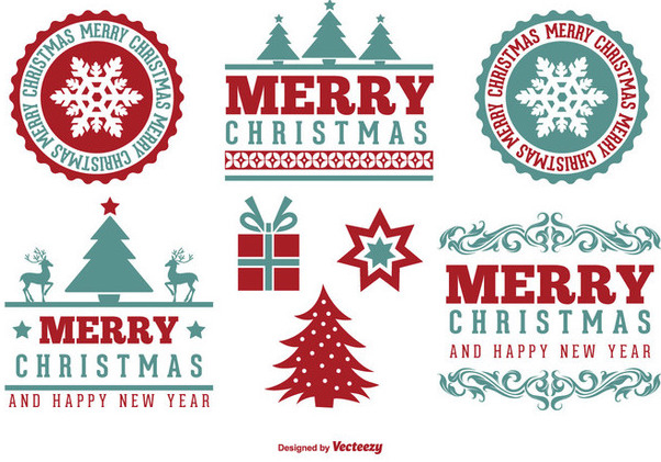 Vintage Christmas Label Set - Free vector #334911