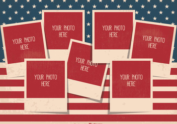 Retro Style Independence Day Photo Collage Template - vector gratuit #335291