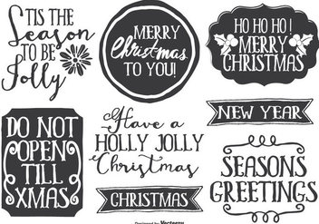 Cute Messy Hand Drawn Style Christmas Label Set - бесплатный vector #335401