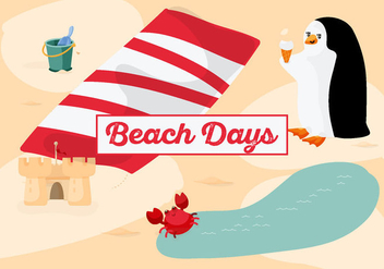 Free Beach Time Background with Cute Penguin - Free vector #335421