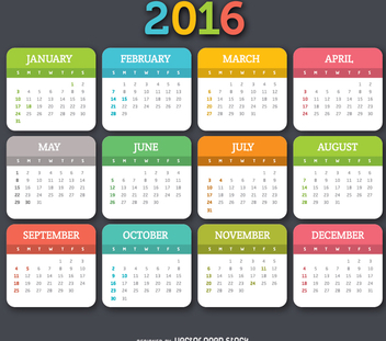 2016 colorful calender - vector gratuit #335651