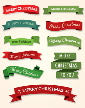 10 Merry Christmas ribbon set - бесплатный vector #335671