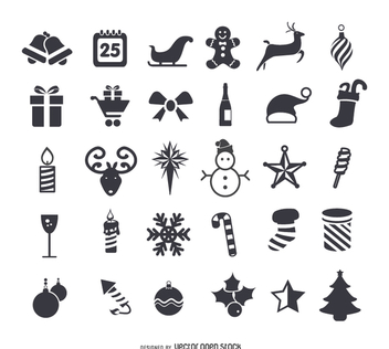 Christmas flat icons set - Free vector #335701