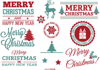 Vintage Typographical Christmas Label Set - Free vector #335861