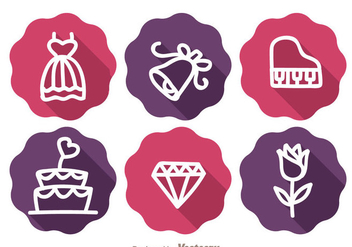 Wedding Long Shadow Icons - vector gratuit #335971
