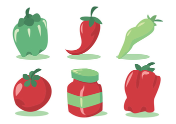 Green Hot Pepper Vector Set - бесплатный vector #336091