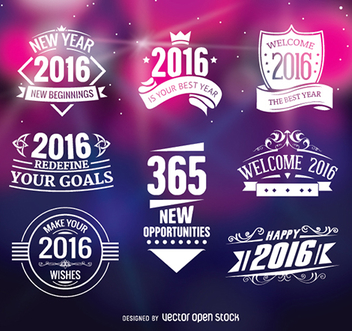 2016 new year badges - vector gratuit #336281
