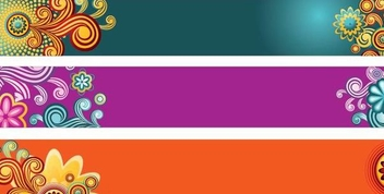 Colorful Floral Banner Set - Free vector #336321