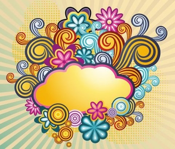 Colorful Retro Swirling Cloud Background - vector gratuit #336421
