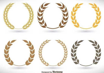 Flat laurel wreath set - Free vector #336561