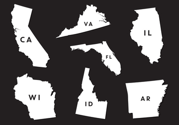 Vector Set of State Map Silhouettes - vector #336581 gratis