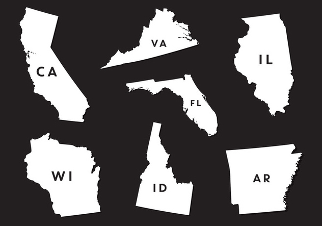 Vector Set of State Map Silhouettes - vector gratuit #336581