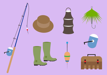 Collection of Fishing Accessories in Vector - vector gratuit #336641