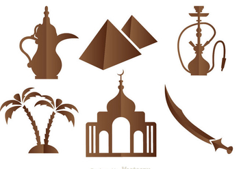 Arabic Brown icons - vector #336761 gratis