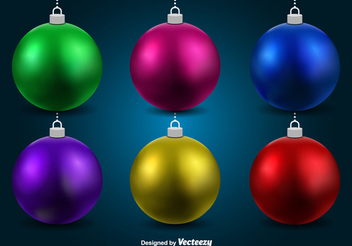 Colorful 3D Christmas Balls - Free vector #336921