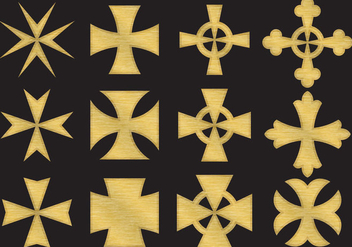 Gold Maltese Cross - Free vector #337081