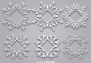 Decorative snowflake-shaped frame for text - vector gratuit #337141