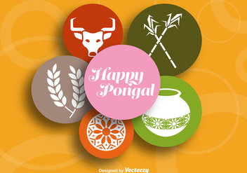 Happy pongal colorful background - Free vector #337161