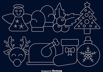Christmas line icons - Free vector #337191