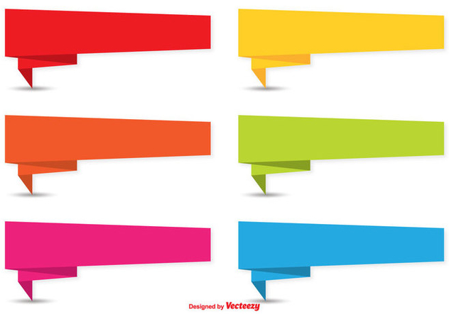 Colorful Origami Banner Set - Free vector #337981