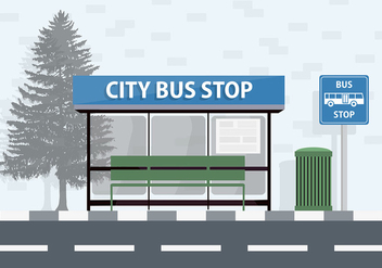 Free City Bus Stop Vector Background - Free vector #338051