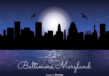 Baltimore Night Skyline Illustration - vector gratuit #338131