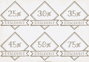 Hand Drawn Discount Labels - vector gratuit #338141