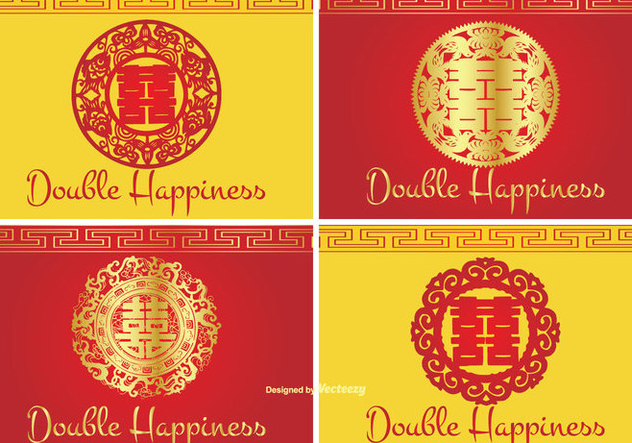 Chinese Double Happiness Symbol Label Set - vector gratuit #338171
